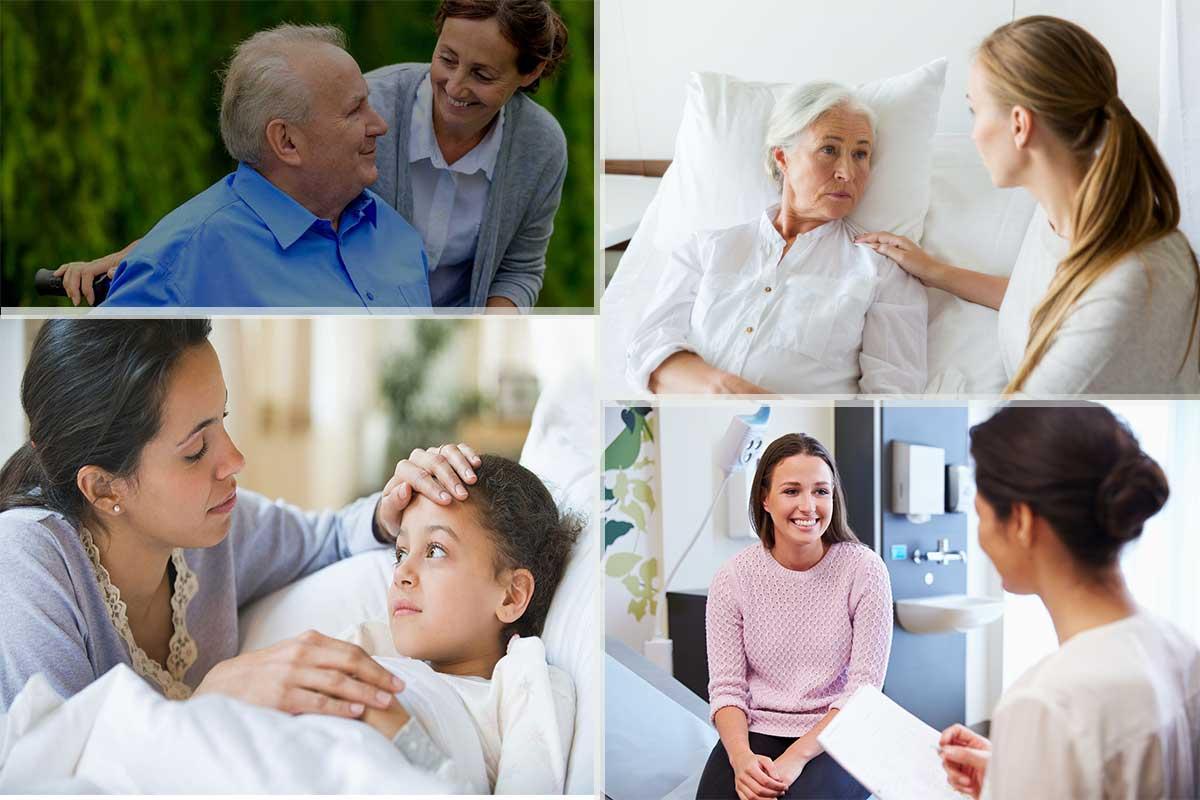 Cả người bệnh lẫn người nhà đều vui vẻ, thoải mái khi có người chăm sóc lúc ốm đau
